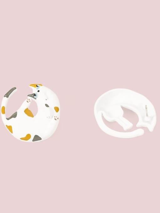 Five Color Alloy White Enamel Cat Cute Stud Earring 2