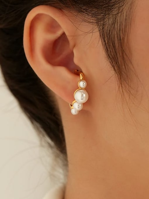 Five Color Brass Imitation Pearl Geometric Vintage Single Earring 1