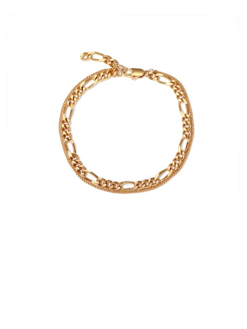 golden Brass Hollow  Geometric Chain Vintage  Anklet