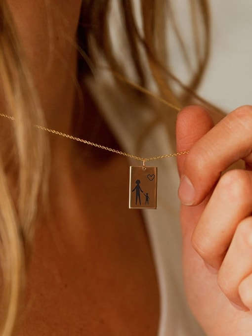Desoto Stainless steel Laser Geometric Minimalist Pendant Necklace 2