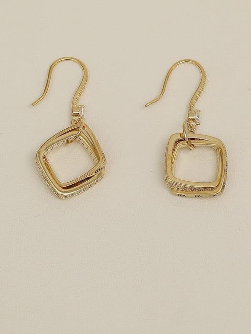 HYACINTH Copper Cubic Zirconia Geometric Minimalist Hook Earring 1