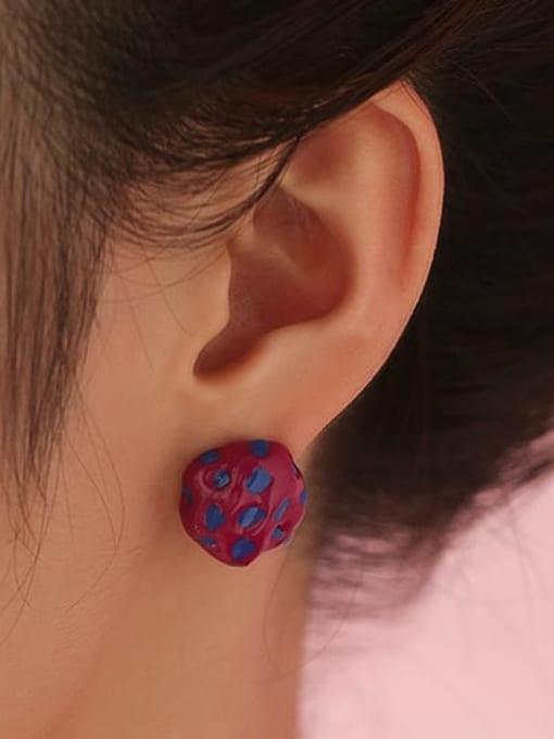 Five Color Brass Enamel Irregular Vintage Stud Earring 1