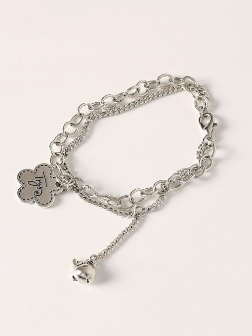 HYACINTH Brass Hollow  Geometric Chain Vintage Strand Bracelet 0