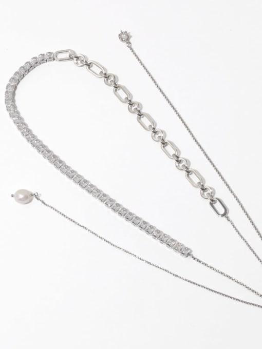 Transparent zircon Brass Cubic Zirconia Geometric Vintage Lariat Necklace