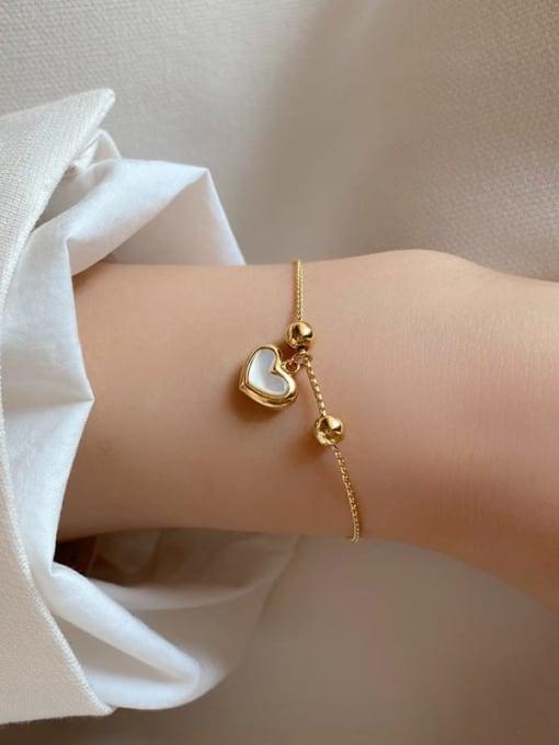HYACINTH Brass Shell Heart Minimalist Adjustable Bracelet 2