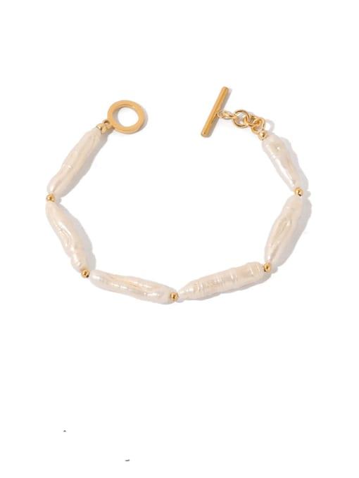 TINGS Brass Freshwater Pearl Geometric Vintage Bracelet