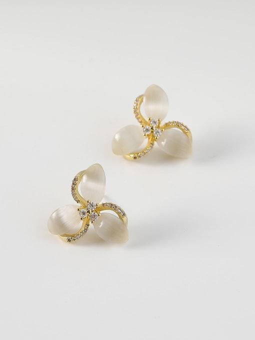 14k Gold Brass Cats Eye Flower Minimalist Stud Earring