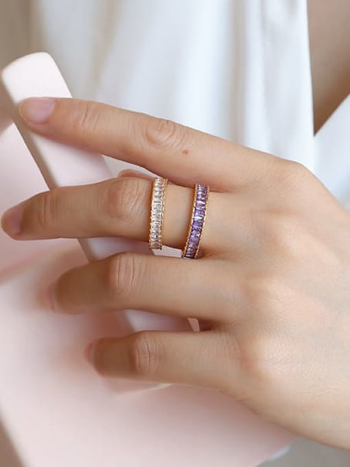 Five Color Brass Cubic Zirconia Geometric Minimalist Band Ring 1