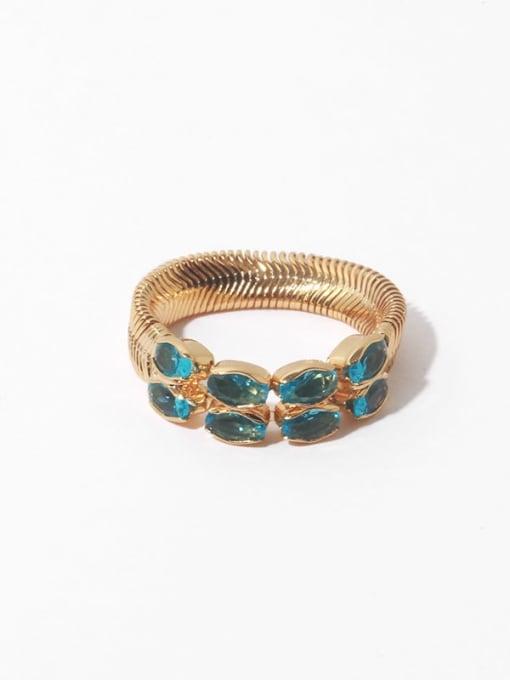 Peacock blue ring Brass Malchite Geometric Vintage Band Ring