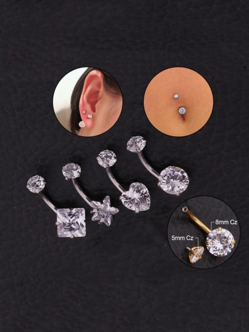 HISON Stainless steel Cubic Zirconia Star Hip Hop Stud Earring OR Belly Estuds