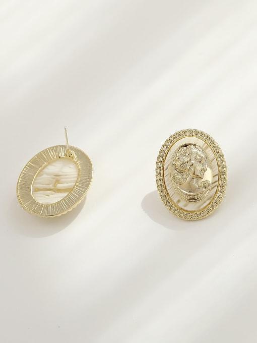 HYACINTH Brass Shell Oval Vintage Stud Earring 3