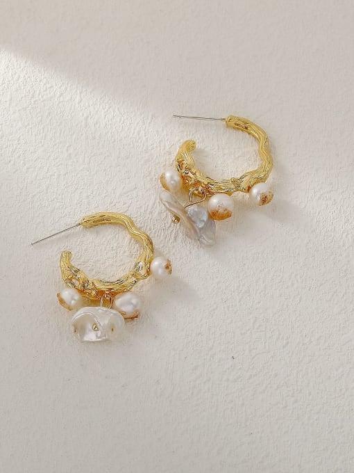 HYACINTH Brass Imitation Pearl Geometric Vintage Huggie Trend Korean Fashion Earring 0