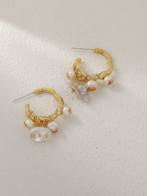 HYACINTH Brass Imitation Pearl Geometric Vintage Huggie Trend Korean Fashion Earring