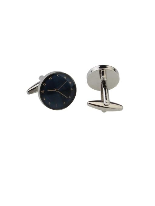 ThreeLink Brass Enamel Round Vintage Cuff Link 0