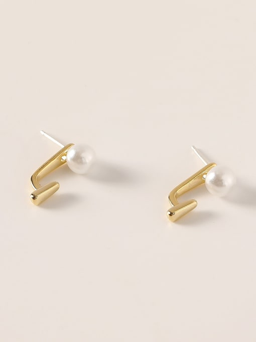 HYACINTH Brass Imitation Pearl Irregular Minimalist Stud Earring
