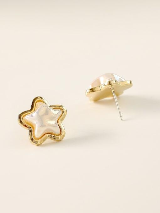 HYACINTH Brass Imitation Pearl Star Minimalist Stud Earring 3