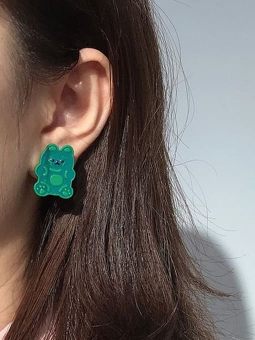Five Color Alloy Enamel Bear Cute Stud Earring 1