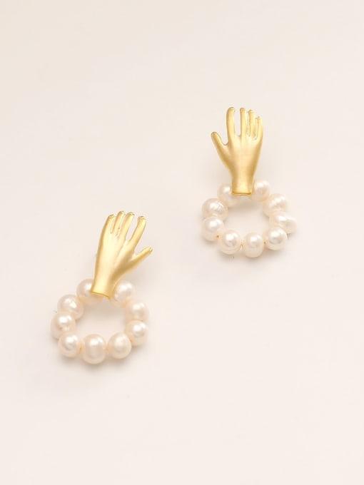 HYACINTH Brass Imitation Pearl Irregular Minimalist Stud Earring 3