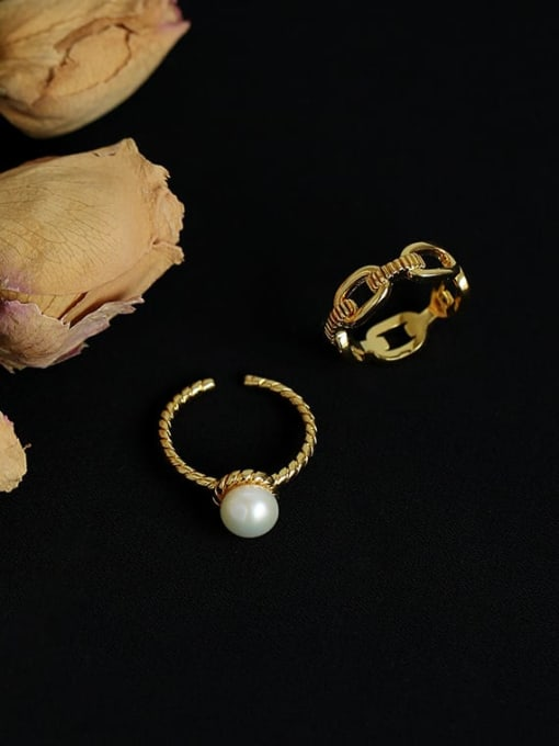 Five Color Brass Imitation Pearl Geometric Vintage Band Ring 0