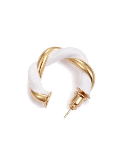White (Single ) Brass Enamel Geometric Minimalist Single Earring