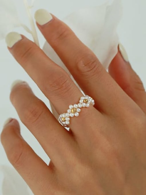 ACCA Brass Imitation Pearl Flower Vintage Band Ring 1