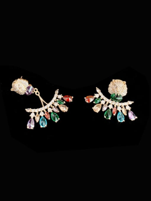 SUUTO Brass Cubic Zirconia Flower Trend Stud Earring