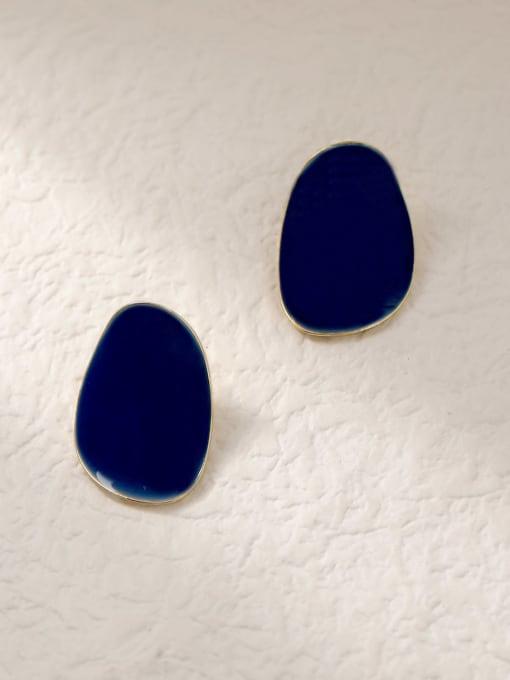 HYACINTH Brass Enamel Geometric Vintage Stud Trend Korean Fashion Earring 3