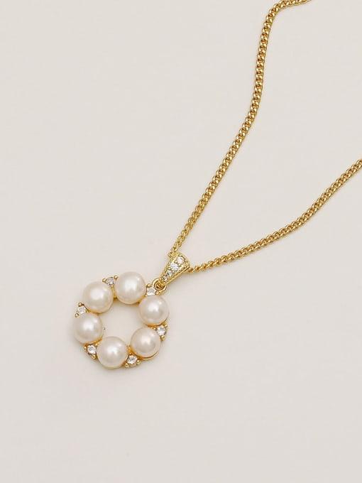 14k gold Brass Imitation Pearl Geometric Minimalist Necklace