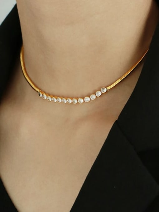 TINGS Brass Cubic Zirconia Vintage Snake bone chain  Necklace 1