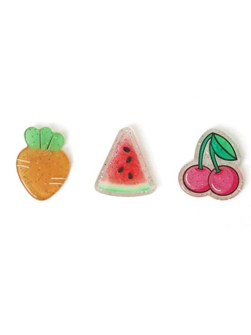 Five Color Alloy Enamel Friut Cute Stud Earring 2