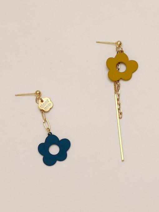 Dark blue and ginger Brass Enamel Asymmetry Flower Ethnic Drop Earring