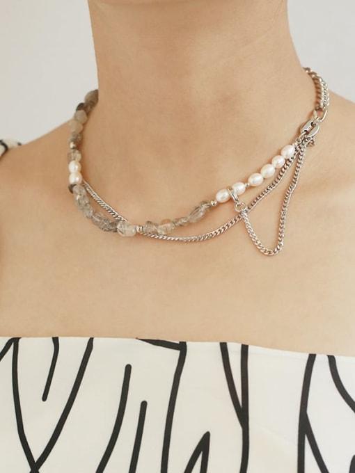 TINGS Brass Imitation Pearl Geometric Vintage Multi Strand Necklace 1