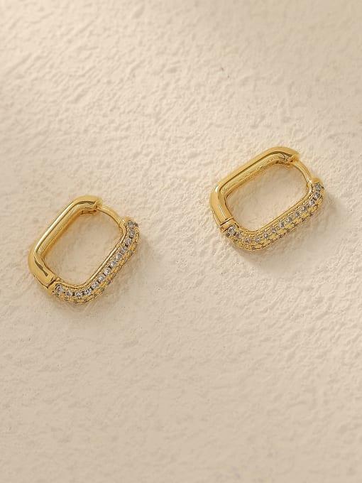 14k Gold Brass Cubic Zirconia Geometric Vintage Huggie Trend Korean Fashion Earring