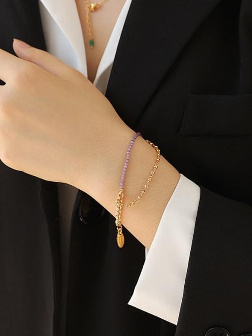 TINGS Brass Cubic Zirconia Geometric Minimalist Strand Bracelet 2