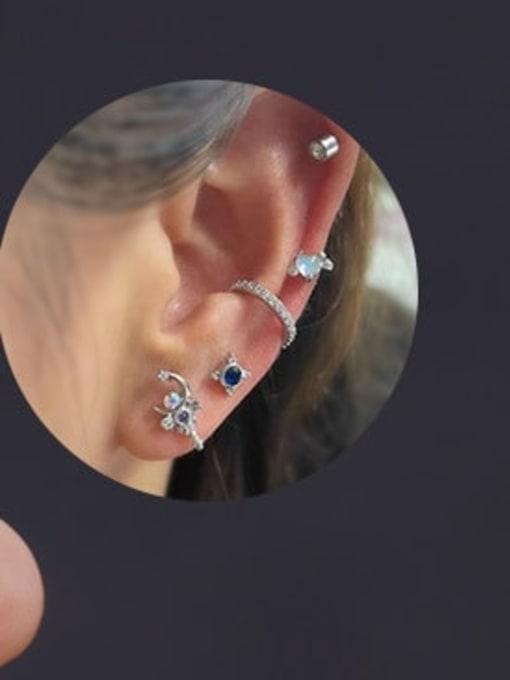 HISON Brass Cubic Zirconia Geometric Hip Hop Chandelier Earring 2