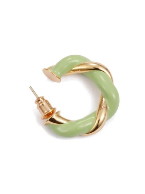 Light green  (Single ) Brass Enamel Geometric Minimalist Single Earring