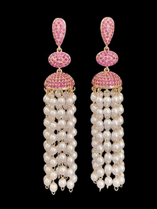 SUUTO Brass Imitation Pearl Geometric Ethnic Drop Earring