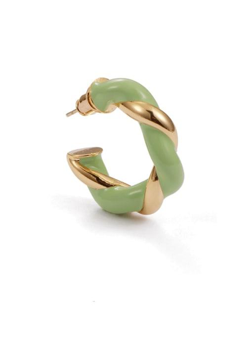 Five Color Brass Enamel Geometric Minimalist Single Earring 2