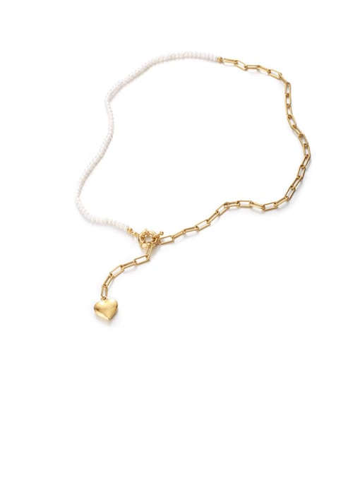 Heart-shaped Necklace Brass Imitation Pearl Heart Minimalist Lariat Necklace