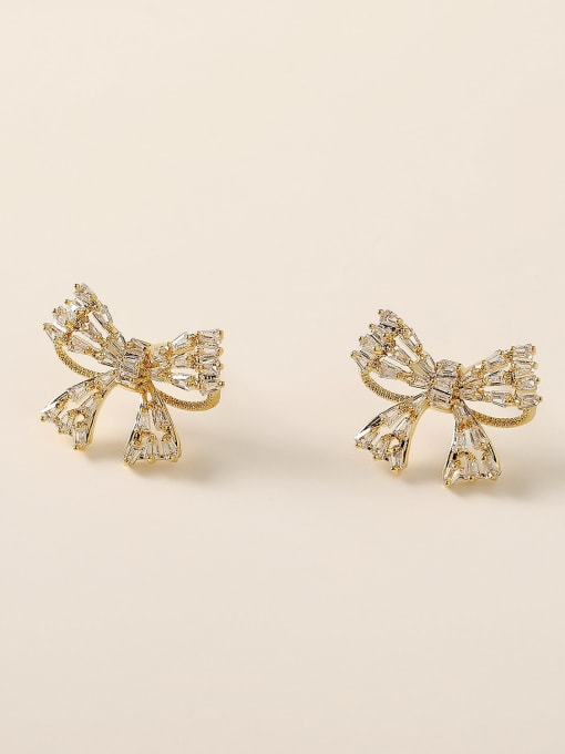 14K Gold Brass Cubic Zirconia Bowknot Vintage Stud Earring
