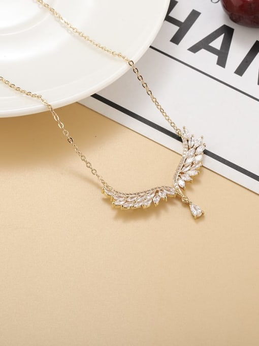 Champagne gold Brass Cubic Zirconia Wing Minimalist Necklace
