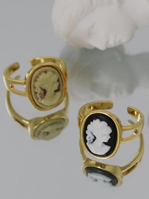 Five Color Brass Acrylic Geometric Vintage  Portrait Band Ring 0