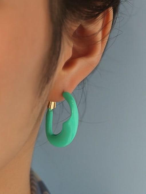 Five Color Brass Enamel Geometric Minimalist Huggie Earring 1