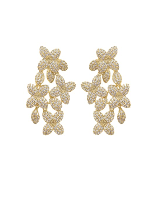 OUOU Brass Cubic Zirconia Flower Statement Cluster Earring 0