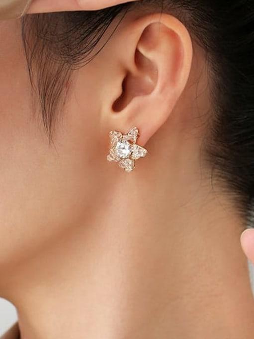 Five Color Brass Cubic Zirconia Star Minimalist Stud Earring 1