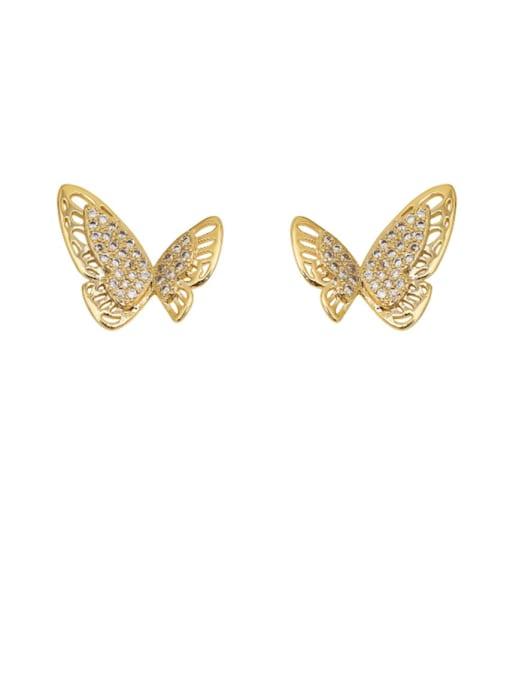14k GOLD Copper Rhinestone Hollow Butterfly Minimalist Stud Earring