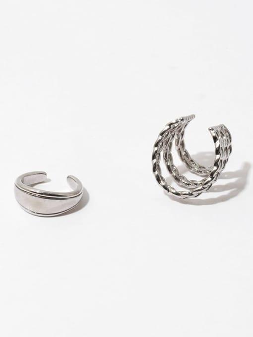 TINGS Brass Hollow Geometric Hip Hop Single Earring 0