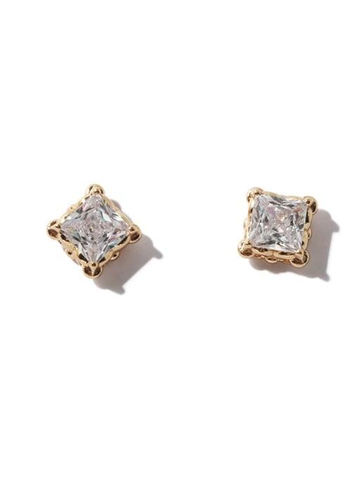 TINGS Brass Cubic Zirconia Geometric Minimalist Stud Earring 3