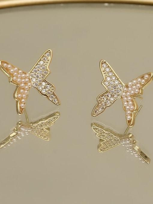 14k Gold Copper Imitation Pearl Butterfly Vintage Stud Earring