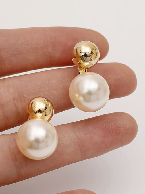 HYACINTH Brass Imitation Pearl Geometric Minimalist Drop Earring 1